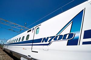 N700A車体側面のロゴマーク。